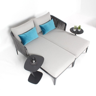 klink / Carma Chaiselounge rechts CORD LOUNGE, Alu anthrazit / String-Flex, inkl. Kissen (100 % Polyester)